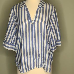 J. Crew striped collared blouse size XL